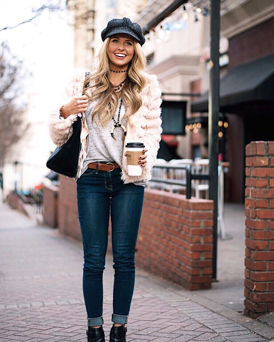 f5ae96609604e Fur jacket & Nashville girls trip ideas || conductor hat outfit //  instagram: @SheaLeighMills