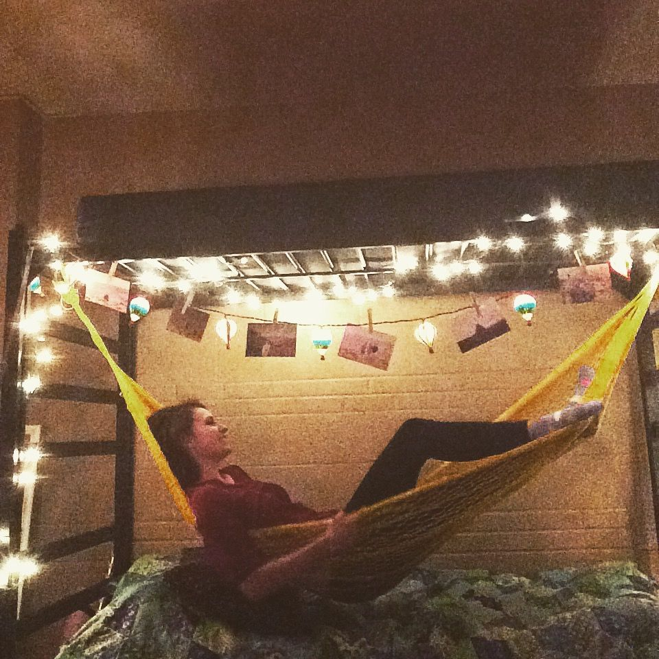 Sometimes I Hammock In My Dorm Room And Hang Pictures On Strung Lights Decorated With Hot Air Balloons 3