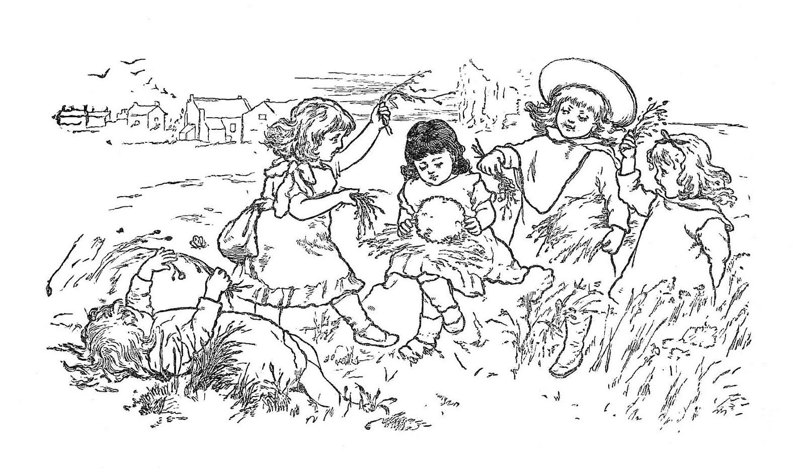 Free Clip Art Of Children Black And White Illustrations From Victorian Storybook Black And White Illustration Free Clip Art Clip Art