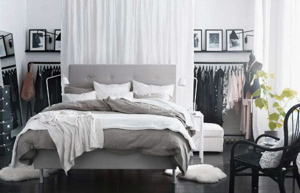 Modern Ikea Bedroom Design With Upholstered Headboard And