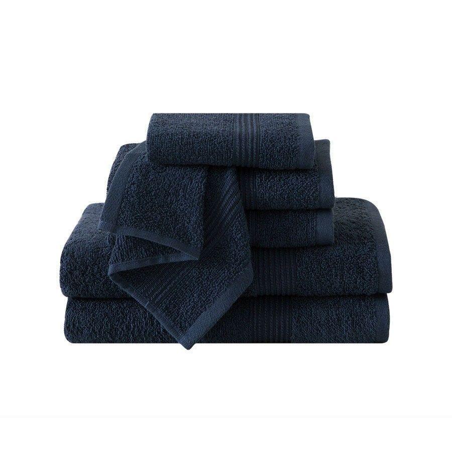 Vcny Ribbed Luxury 6 Piece Bath Towel Set Downtown Collection 100 Cotton Indigo Blue Discontinued No Longer Available Vcny Bath Towels Bath Towel Sets