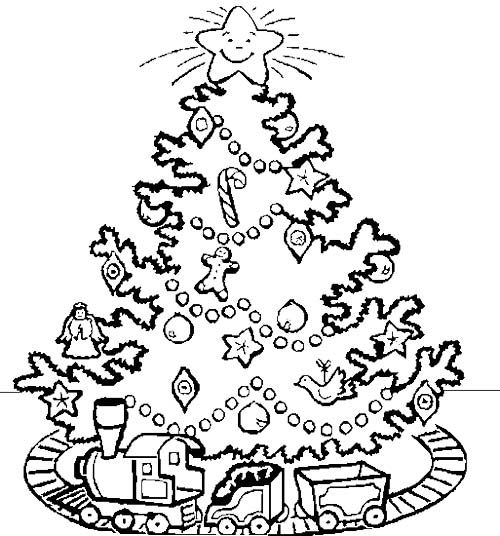 Electric Train Under A Christmas Tree Coloring Page  christmas