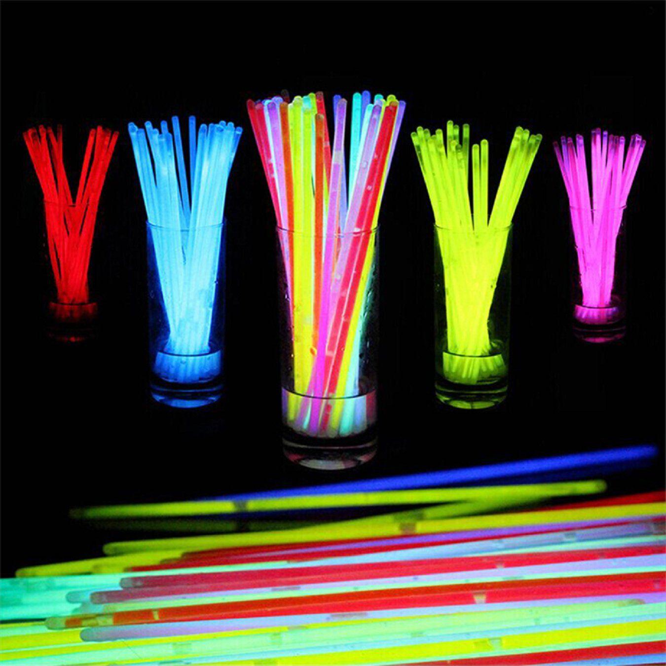 Bote De Pulseras Luminosas 50 Barritas Fluorescentes Y 50