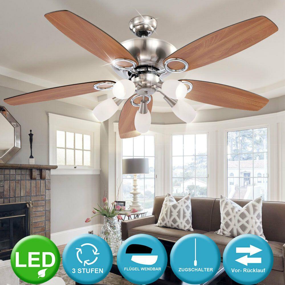 LED Decken Ventilator Beleuchtung Wohn Ess Schlaf Zimmer Lampe
