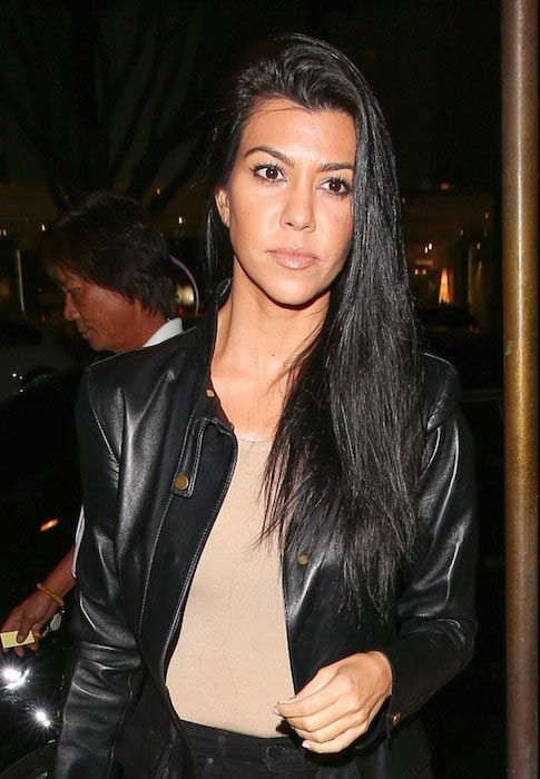 Kourtney Kardashian turned heads as she rocked a chic leather jacket during her visit to the Madeo restaurant on October 26, 2015 for her friend's birthday in Beverly Hills, California....