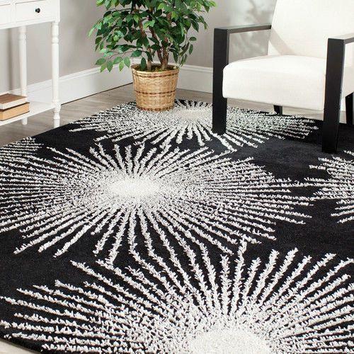 New Black White Medallion Starburst Modern Area Rug Bed Living Foyer Room Decor Modern Black Area Rugs Area Rugs