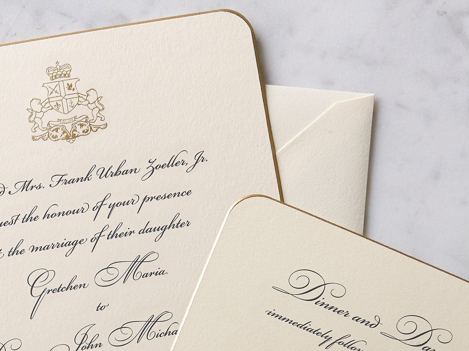 Engraved wedding invitation - classic script+round corner+gold bevel ...