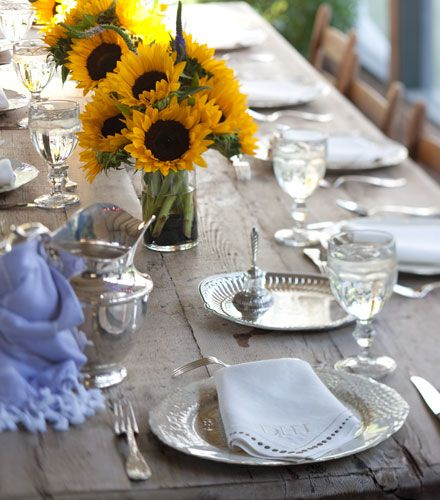 Rustic table with Sunflowers