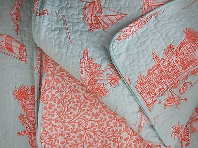 COASTAL COLLECTION French 3pc KING QUILT SET Coastal Beach Coral ... : coral quilts - Adamdwight.com