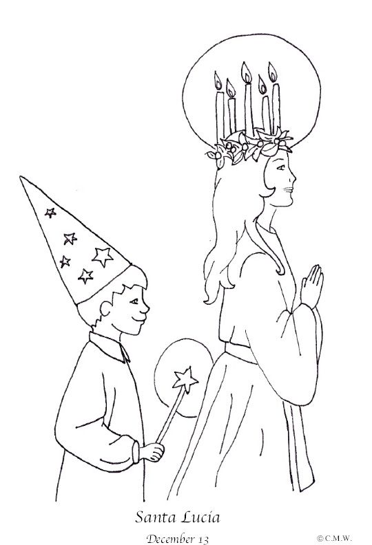 This St Lucia Coloring Page Will Be Great For Teaching My Young Niece About Our Heritage This Holiday Season Santa Lucia Day St Lucia Day St Lucia