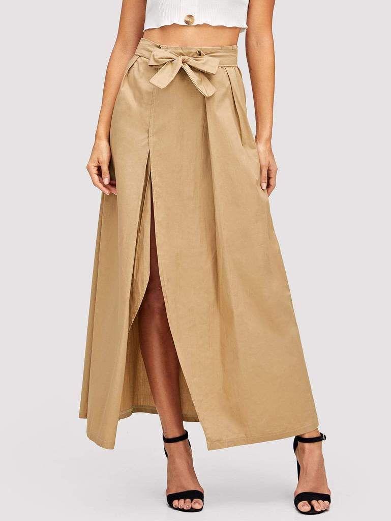b85ce10bc5 Tie Waist Split Front Skirt in 2019 | WOMEN'S SKIRTS | Skirts, Tie ...