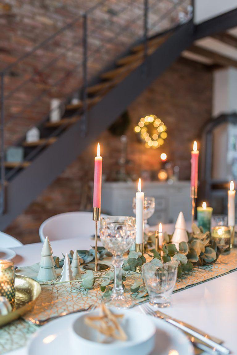 Meine Tischdeko für Weihnachten in mintgrün und gold - Leelah Loves