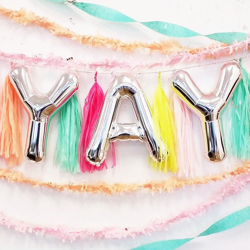 YAY 16 inch Silver Foil Letter Balloon Pack Letter