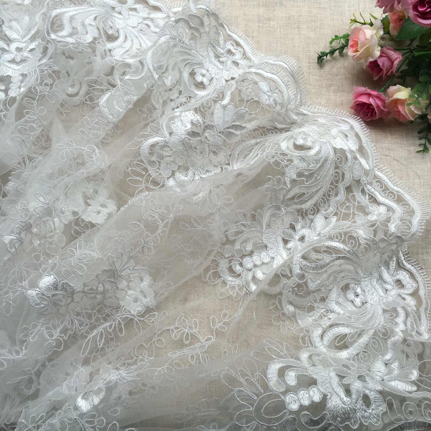 Fashion 3D lace, Ivory lace fabric,embroidered lace,guipure lace ...