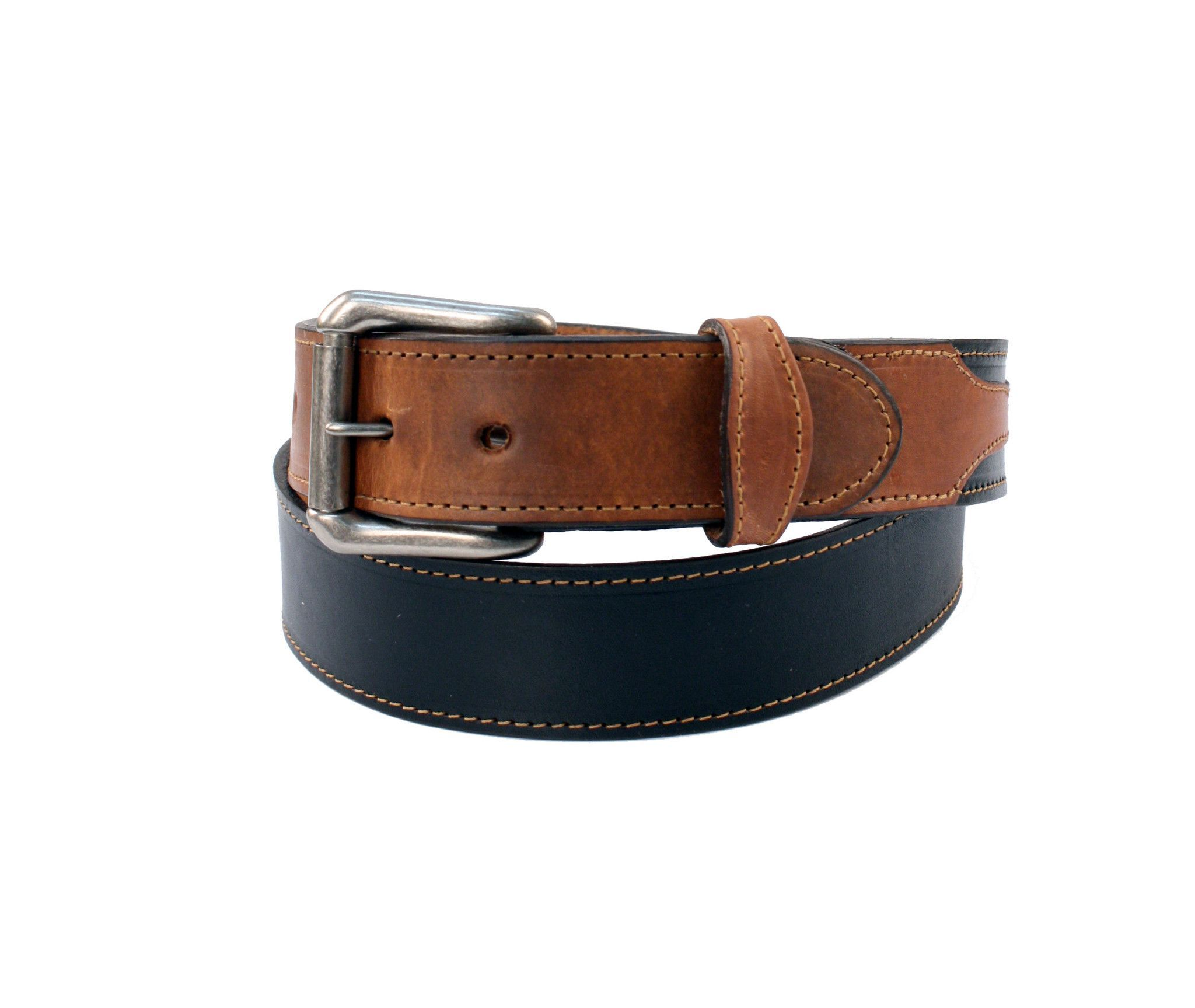 R G Bullco Men's Made In USA Oil Tanned Edge Stitched Bi-Color Belt