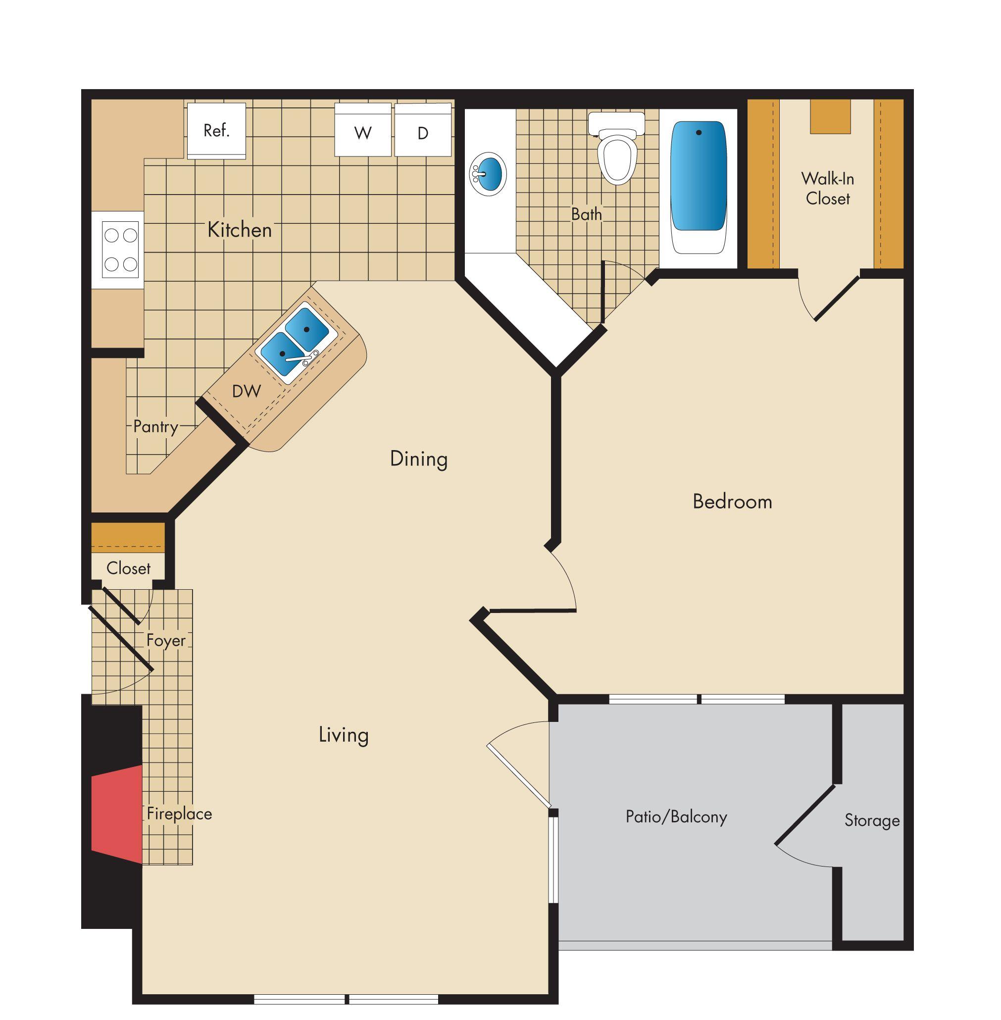 One bedroom, one bath, patio. | Cottage floor plans, House ...