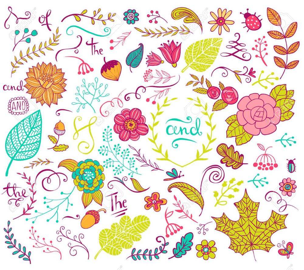 Vector De Elementos De Diseno Floral En El Estilo De Dibujo Flores Hechas A Mano Y Los Insectos Y Las Plantas Estilos De Dibujo Elementos De Diseno Flores Hechas A Mano