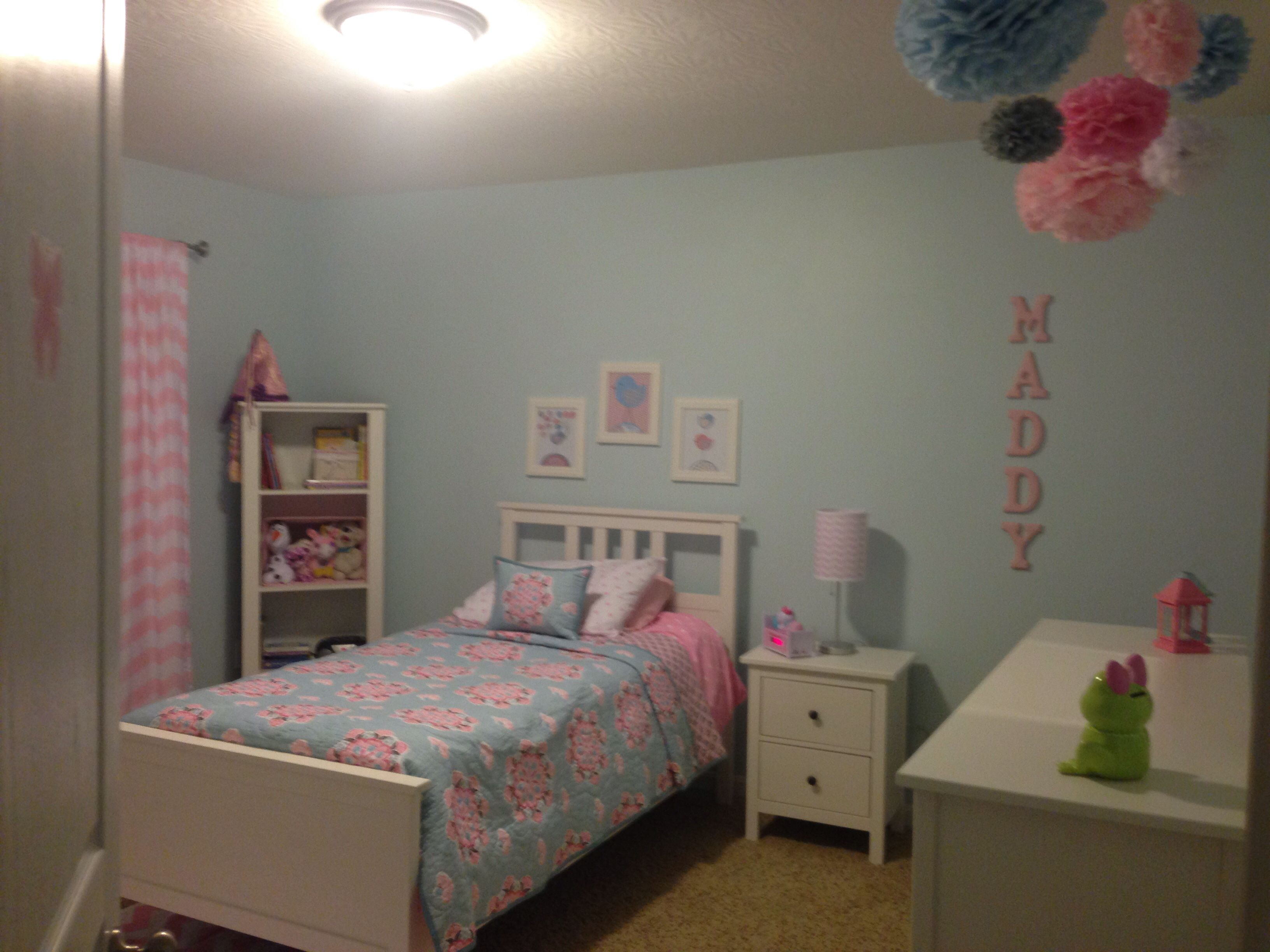 Pottery barn silk curtains - Maddy S Completed Light Blue Pink Big Girl Room Pottery Barn Brooklyn Bedding Paper