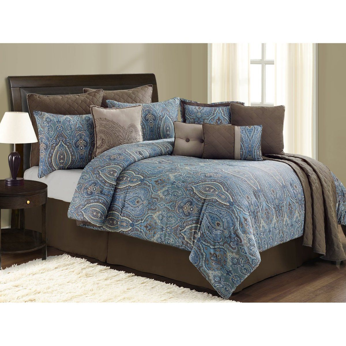 Best Blue And Brown Floral Damask King Bedspread With 100 Cotton Comforter Sets King Size And Solid 640 x 480