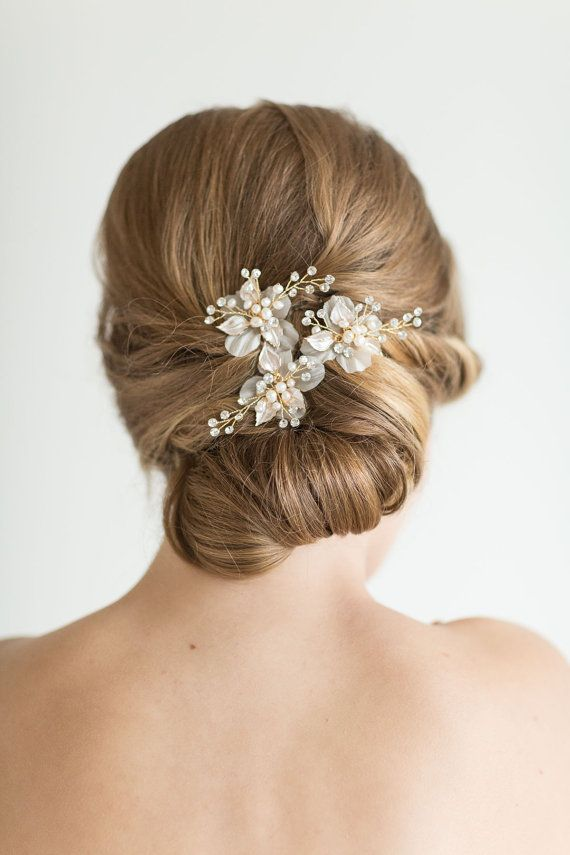 Wedding Hair Pins Bridal Hair Pins Pearl Hair by PowderBlueBijoux