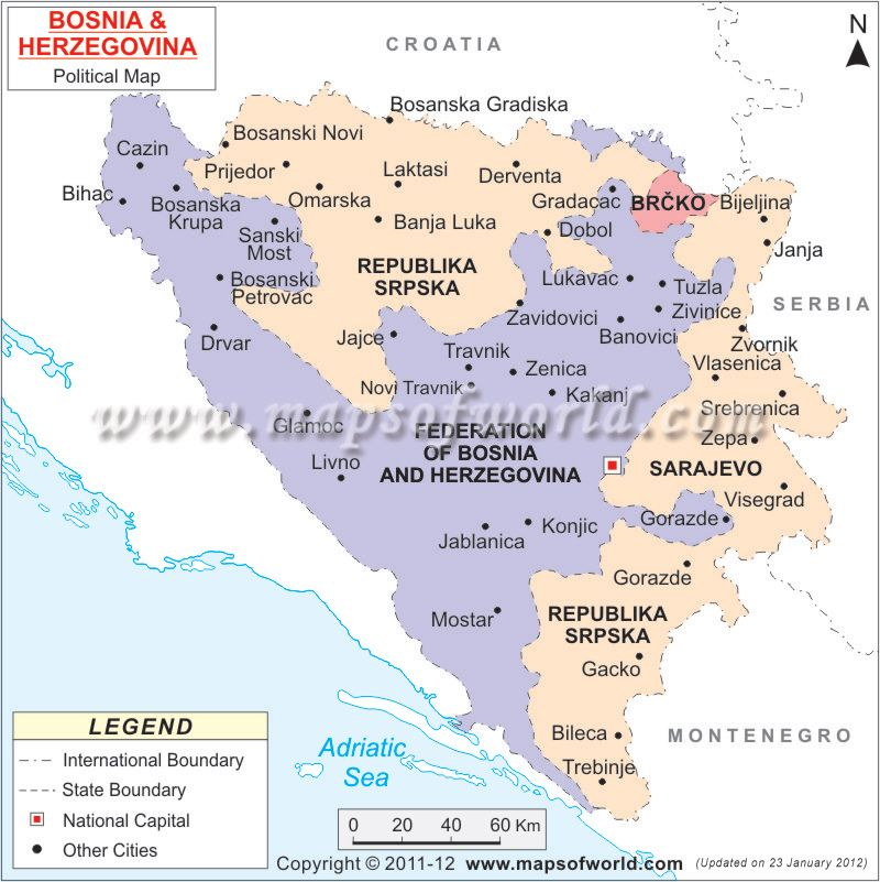 Bosnia Herzegovina Political Map WANNA GET AWAYFEDERATION OF
