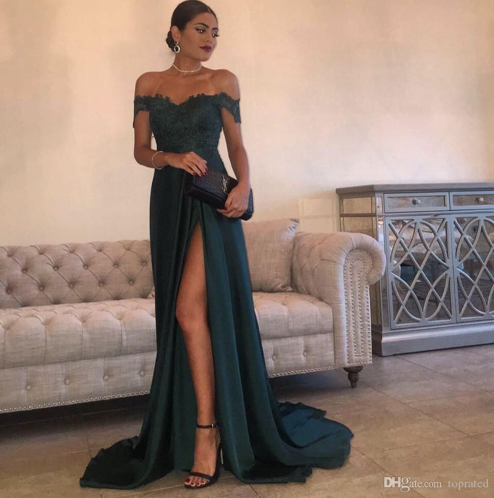 5e6e11f3e2266 2017 Evening Gowns A Line Hunter Green Chiffon High Split Cutout Side Slit  Lace Top Sexy Off Shoulder Hot Formal Party Dress Prom Dresses Cheap Pretty  Prom ...
