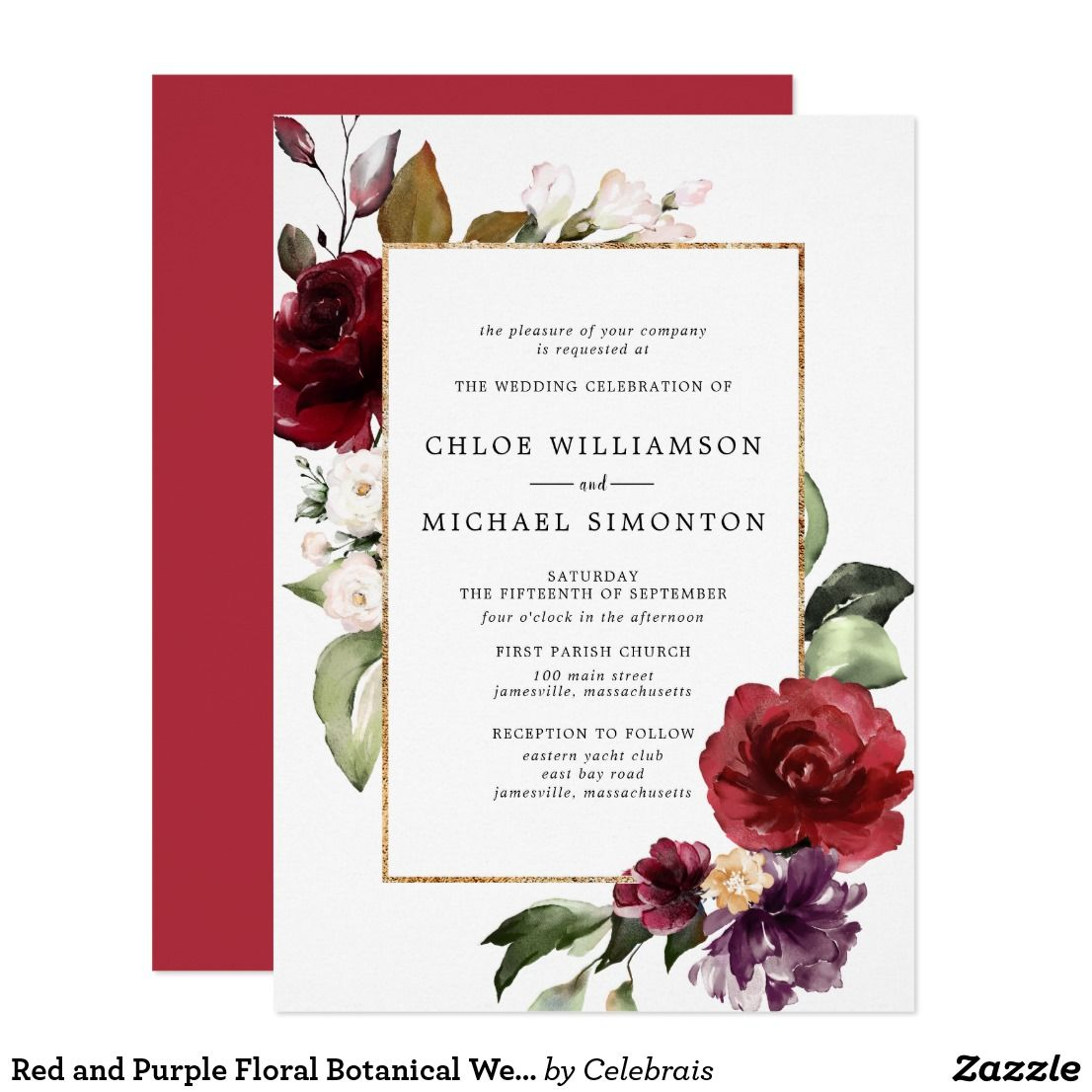 Red and Purple Floral Botanical Wedding Invitation | Wedding ...