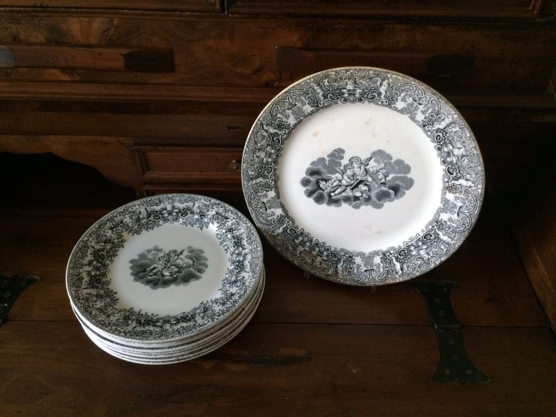 """9 Piatti """"Amori"""" Soc. Cer. Richard / Piatti blu con angeli / Vintage set piatti con piatto da portata di VintaFai su Etsy"""