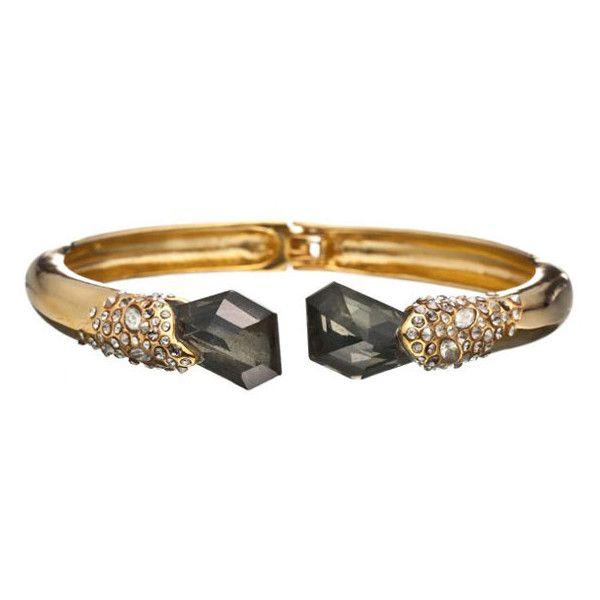 Alexis Bittar Pyrite & Crystal Stone Hinged Bracelet naRjo