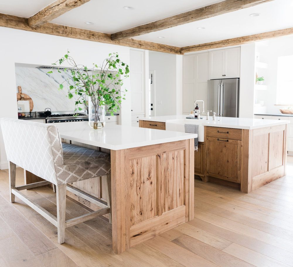 8 Inspiring Non White Kitchens Farmhouse Living Interior Design Kitchen Hickory Kitchen Cabinets Kitchen Cabinet Colors