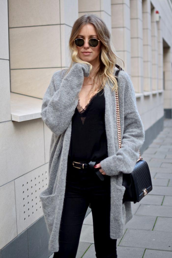 Grauer Strick Cardigan | fashion | Strickjacken outfit ...