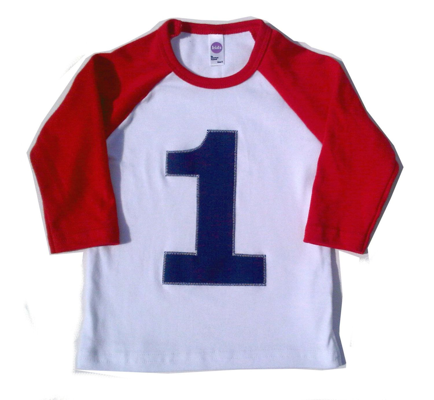 My First Birthday Red and White Raglan Shirt Raglan 1st