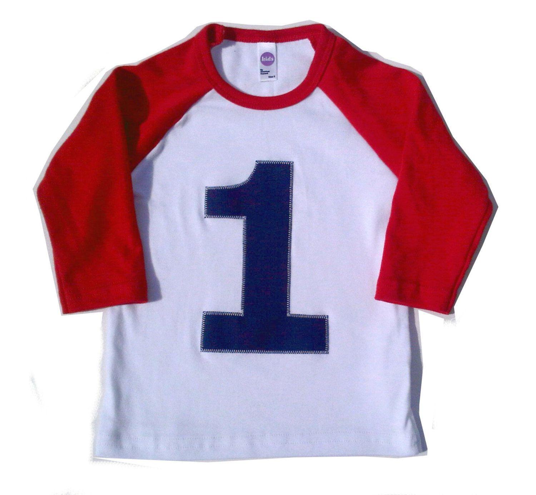 My First Birthday Red and White Raglan Shirt Raglan 1st
