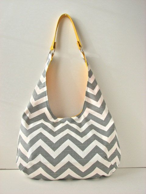 Slouchy Hobo Bag in Grey and White Chevron Canvas by bluecalla ...