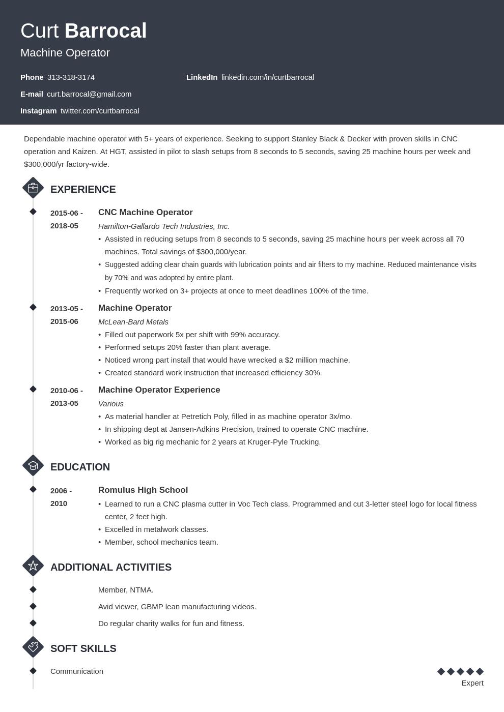 machine operator resume example template diamond in 2020