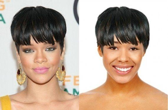 Pode também investir na franja se você tiver o rosto oval como o de Rihanna.