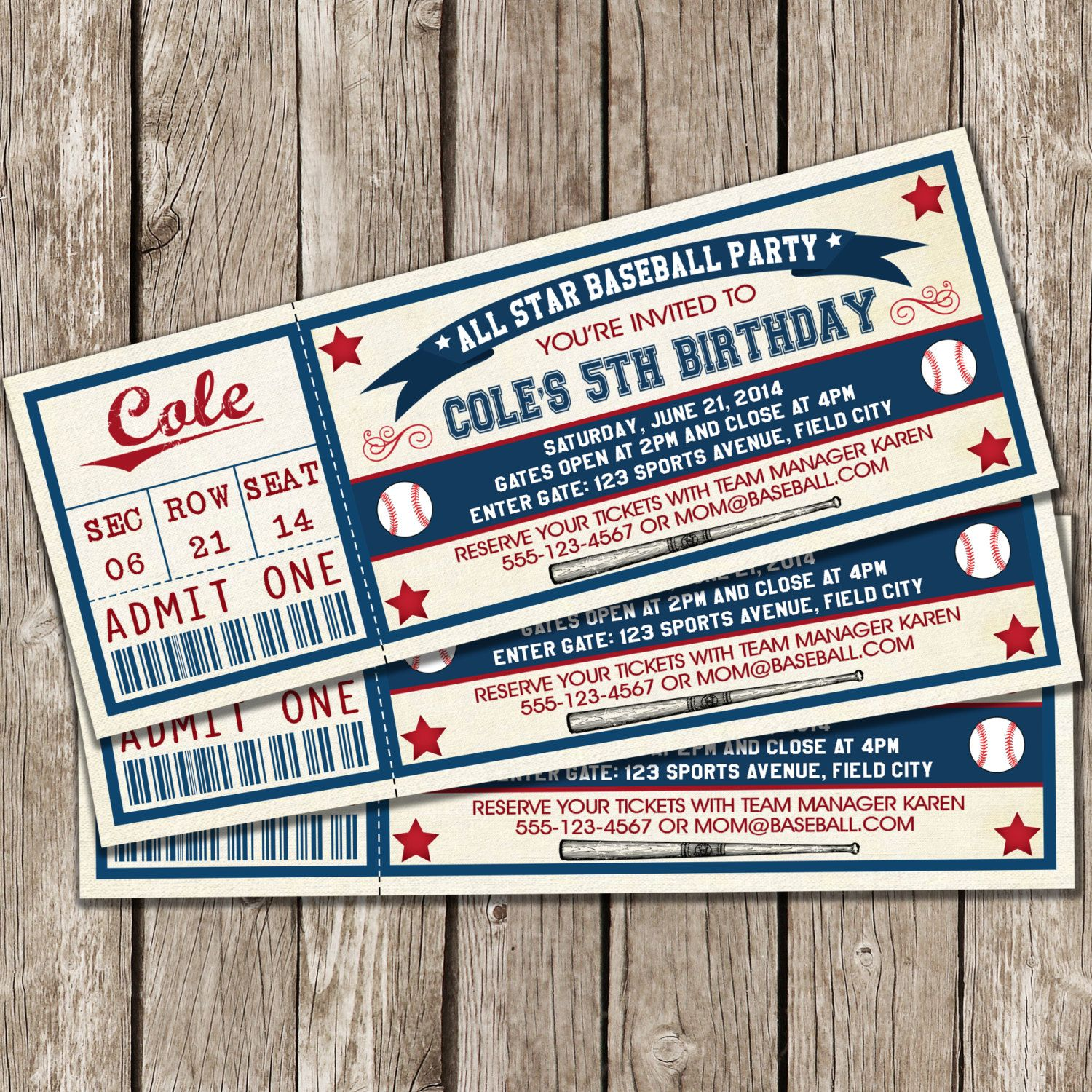Vintage Baseball Ticket Invitation  Baseball Birthday Party