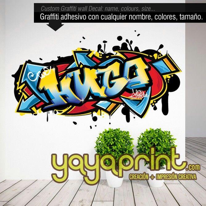 Graffiti nombre decoraci n habitaci n cuarto dormitorio for Vinilos dormitorio