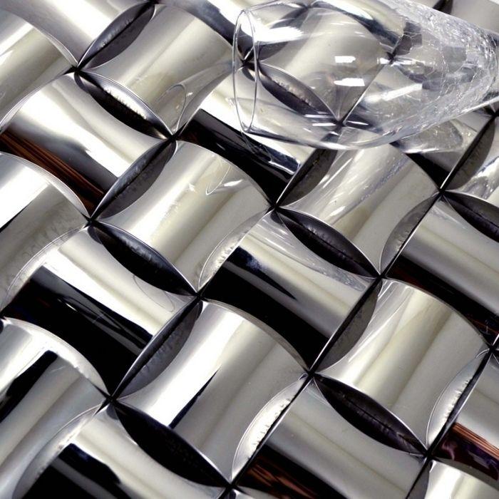 3D diseño convexo de acero inoxidable metal mosaico de azulejos para ...