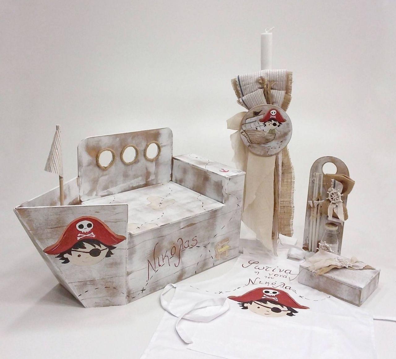 683d7678f0c κουτί βαπτιστικό καράβι πειρατικό,με λαμπάδα ,λαδοσέτ,ποδιά για τους νονούς  και κουτί