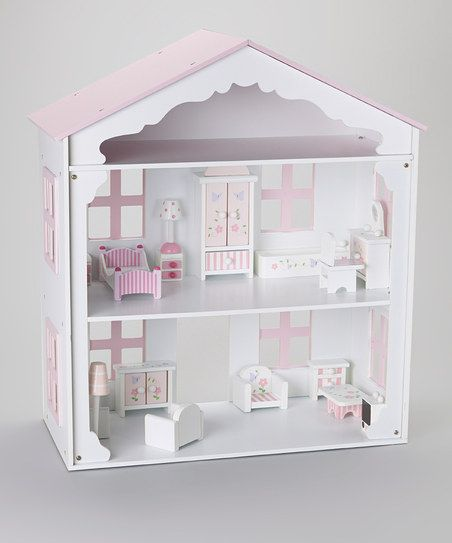 Pink White Wooden Dollhouse Wood Pinterest Wooden Dollhouse