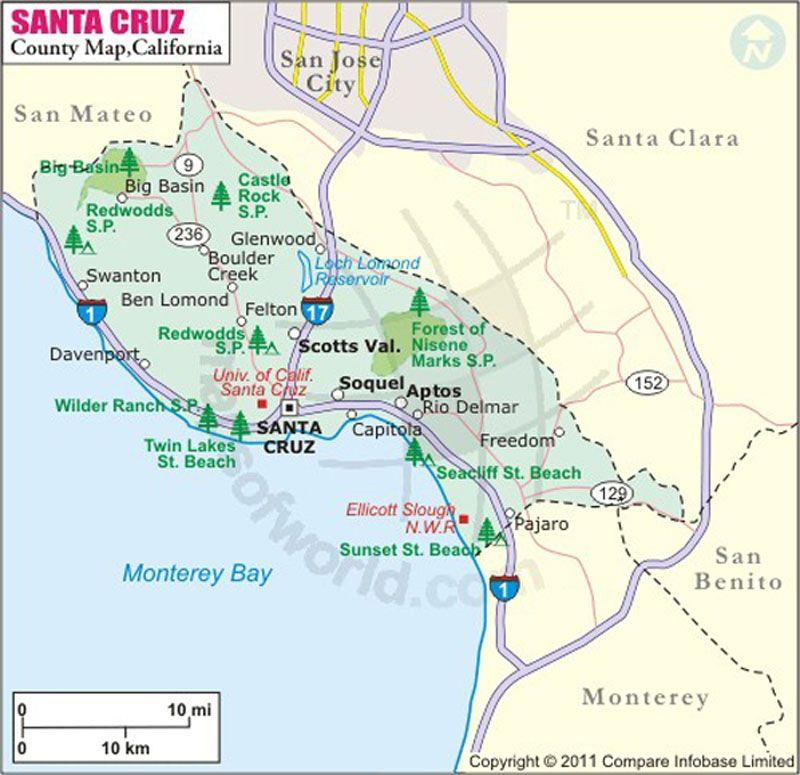 Santa Cruz County Map California Maps Pinterest Santa Cruz - Map of us hwy 129