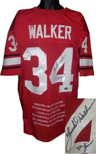 Herschel Walker Autographed Hand Signed Georgia Bulldogs Red Custom Jersey  82 Heisman w  Embroidered 6f299aeae