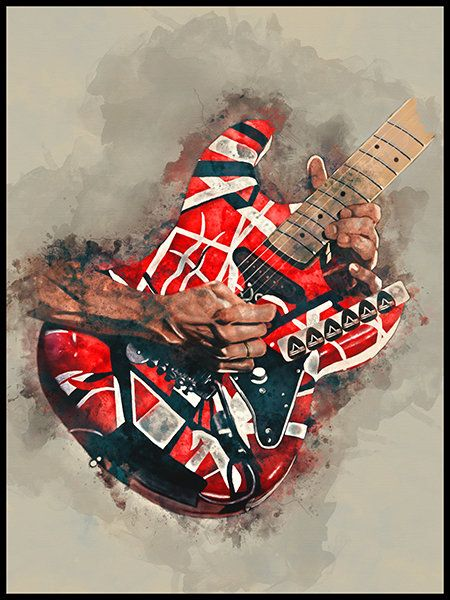 Eddie Van Halen S Electric Guitar 12x16 Guitar Art Music Wall Art Music Poster Music Room Decor Hand Painted Gui Guitar Art Music Wall Art Guitar Painting