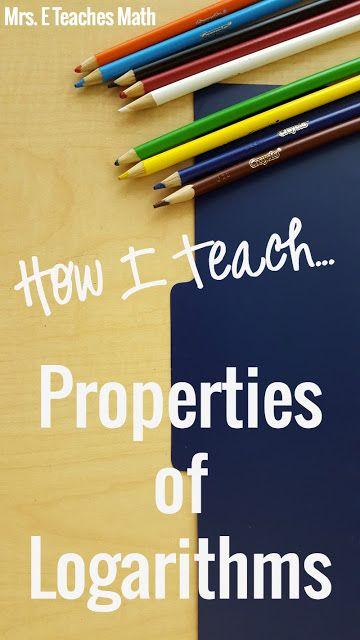 How I Teach Intro To Logs Math Grades 7 12 Pinterest Algebra