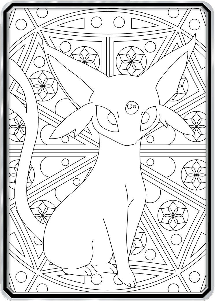 Color Me Espeon Custom Pokemon Coloring Card Pokemon Coloring