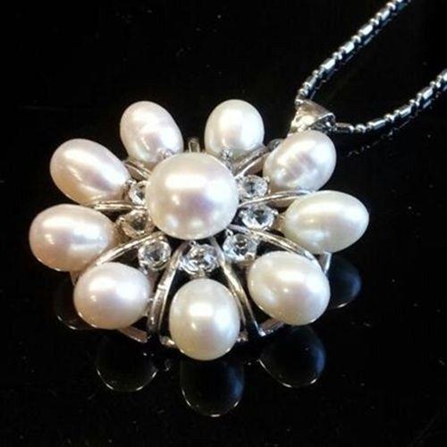 "White 10-Pearl Freshwater & Center Akoya 30mm Pendant Necklace 16"" 18K WGP Chain #Unbranded #Pendant"