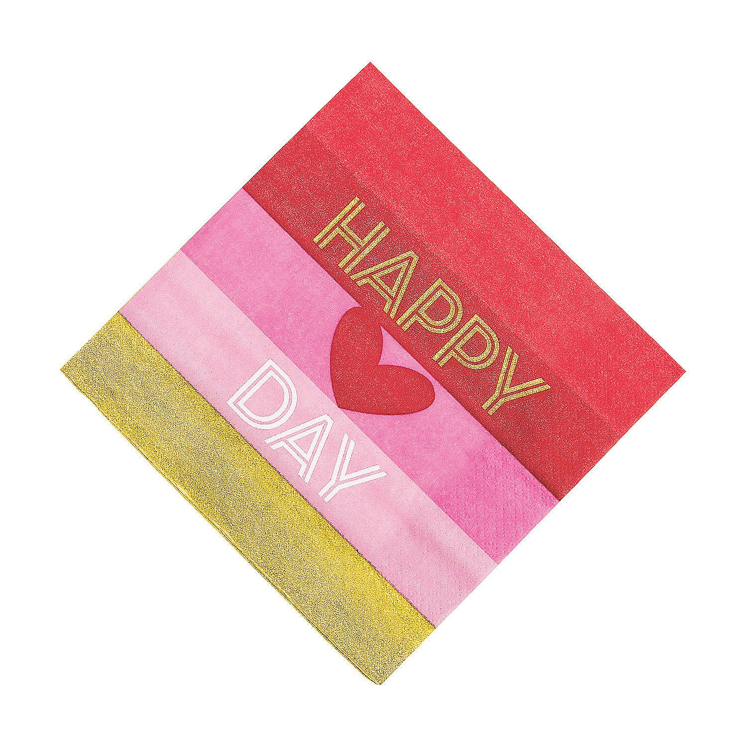 Gold Happy Valentine's Day Luncheon Paper Napkins | Oriental Trading #papernapkins