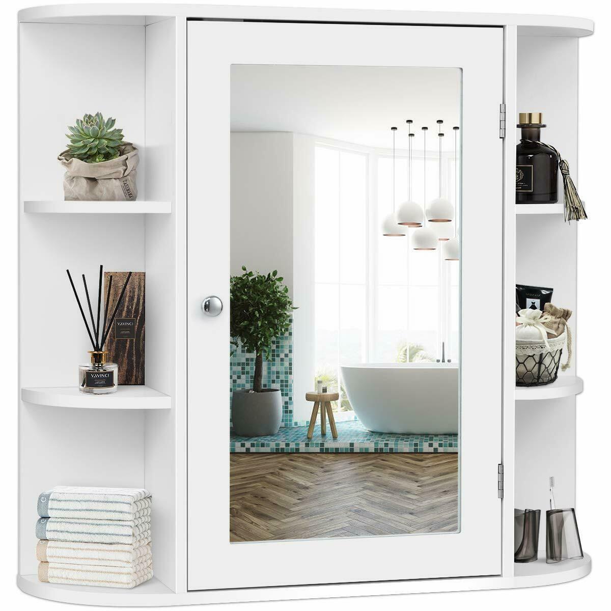 Costway Multipurpose Wall Surface Bathroom Storage Medicine Cabinet With Mirror White Walmart Com In 2020 Bathroom Wall Cabinets Wall Mounted Medicine Cabinet Bathroom Mirror Cabinet
