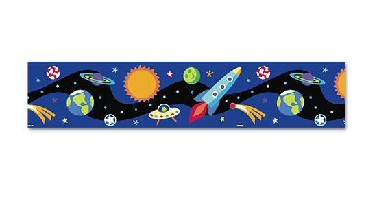 Space Galaxy Wallpaper Border for Boys Rocket